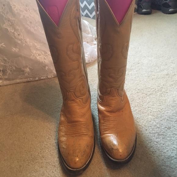 34e77740fe5 Ostrich leather cowboy boots